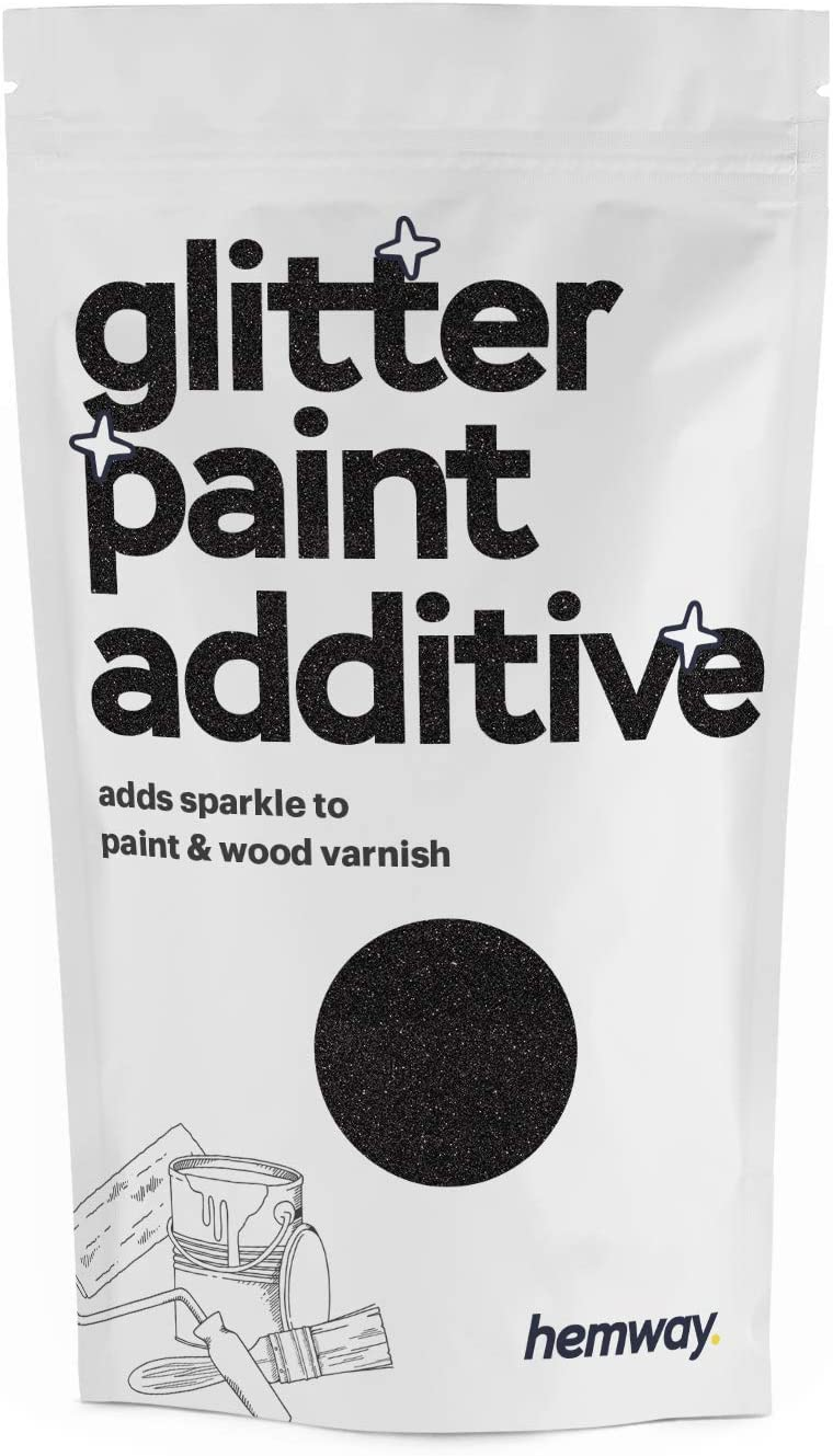 Hemway (Black) Glitter Paint Additive Crystals 100g / 3.5oz for Acrylic Latex Emulsion Paint - Interior Exterior Wall, Ceiling, Wood, Varnish, Dead Flat, Matte, Gloss, Satin, Silk
