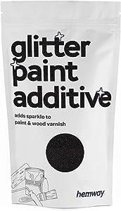 Hemway (Black) Glitter Paint Additive Crystals 100g / 3.5oz for Acrylic Latex Emulsion Paint - Interior Exterior Wall, Ceiling, Wood, Varnish, Dead Flat, Matte, Gloss, Satin, Silk
