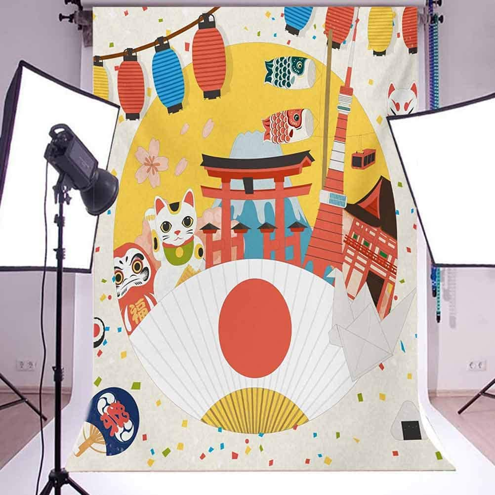 Lantern 10x12 FT Photo Backdrops,Japanese Inspired Commercial Pattern Various Culture Items Cool Cat Origami Background for Baby Shower Birthday Wedding Bridal Shower Party Decoration Photo Studio