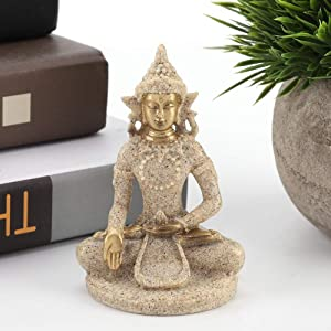 Buddha Figurine Buddha Craft, Buddha Decor Buddha Statue, Carving Statue, for Home Decoration for Home(B Gold)