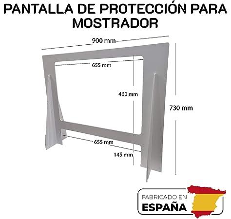 Pantalla de Protección para mostrador de 900x730mm. Mampara ligera y resistente fabricada en PVC ALTA DENSIDAD, con ventana de PTEG de 500micras de grosos con tratamiento antireflejo: Amazon.es: Bricolaje y herramientas