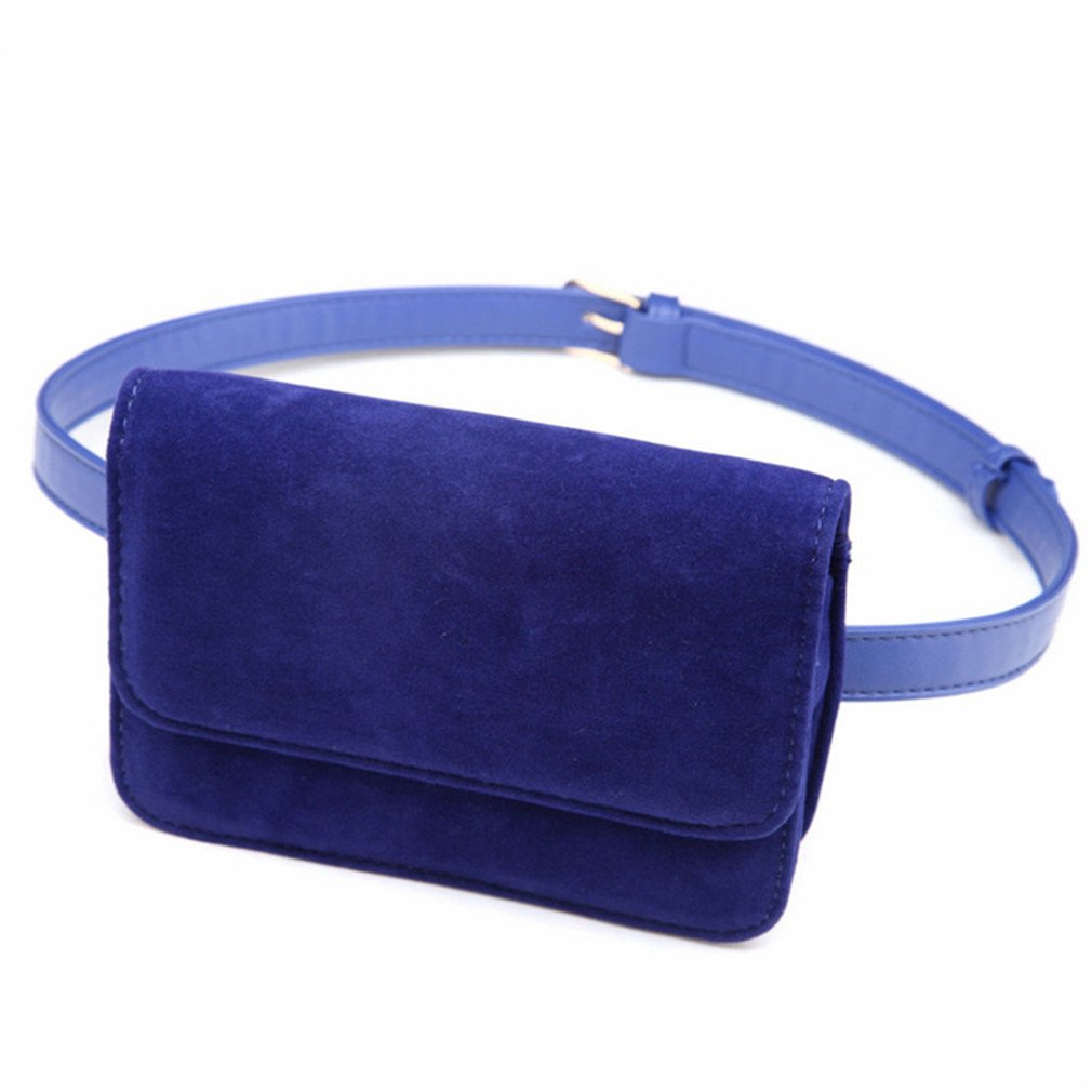 BAGGY Women Leather Belt Travel Casual Waist Packs blue