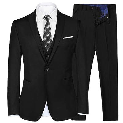 iClosam Men's Slim Fit 3 Piece Suit Two Button Blazer Tux Vest & Trousers at Amazon Men's Clothing store