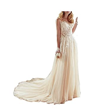 GBWD Womens Wedding Dresses Elegant Beads Lace Applique A-Line Wedding Bridal Gowns Vestidos De