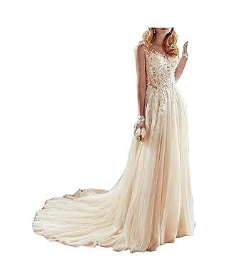 GBWD Womens Wedding Dresses Elegant Beads Lace Applique A-Line Wedding Bridal Gowns Vestidos De