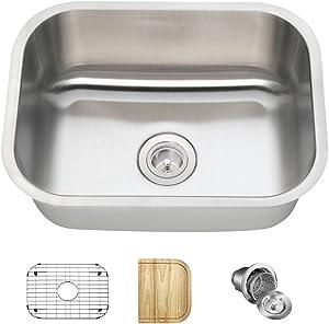 2318 18 Gauge Stainless Steel Kitchen Ensemble (Bundle - 4 Items: Sink, Basket Strainer, Sink Grid, and Cutting Board)