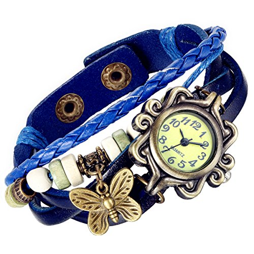 Lancardo Women's Braided Leather Straps Butterfly Charm Bracelet Bangle Watches(Blue) Multi Charm Bracelet Watch