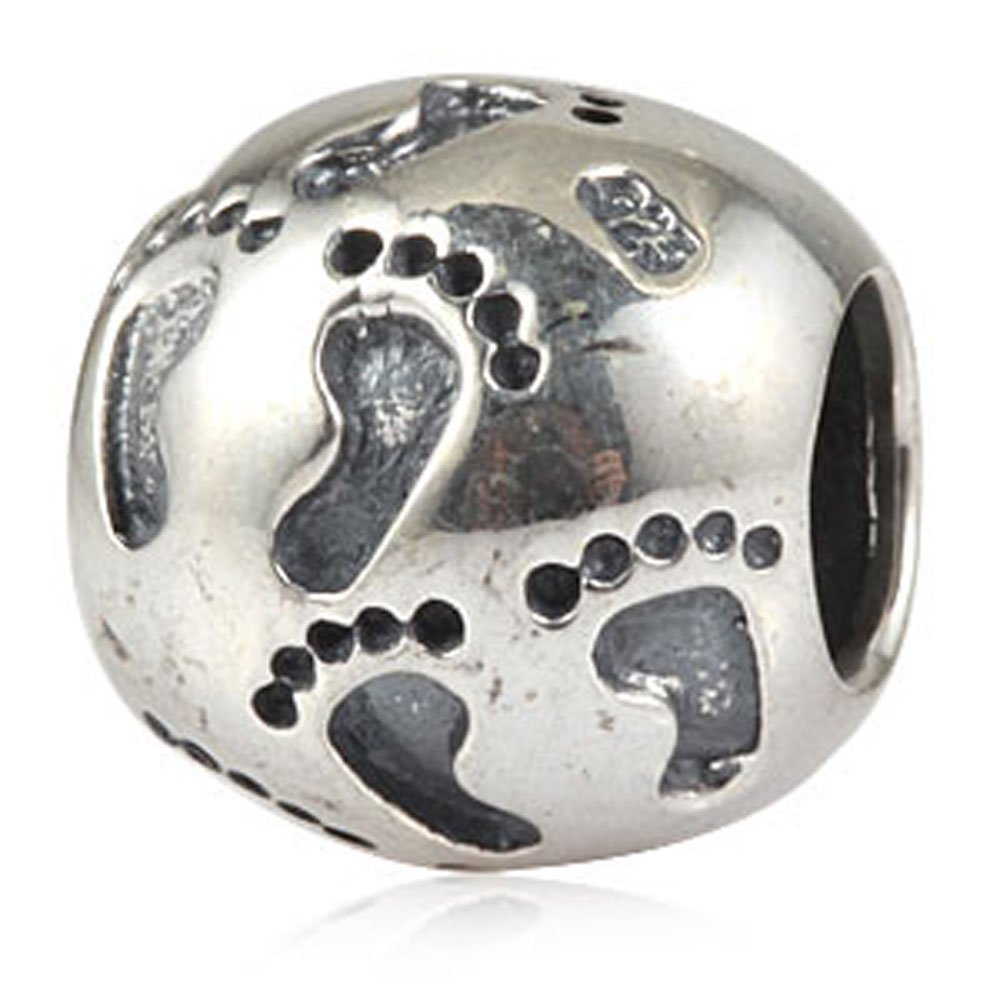 Ollia Jewelry Antique 925 Sterling Silver Beads Footprints Charm Little Baby's Bare Feet Charm Summer Beach Walk Charms