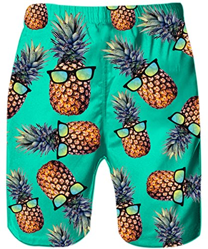 Uideazone Adult Men Swim Trunks Funny Patterned Pineapple Board Shorts for Beach