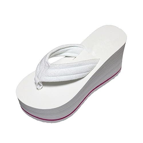 Lalang Damen Plattform Keilabsatz Zehenriemen Sommer Urlaub Flip Flops Sandalen (36 EU, Rose Red)