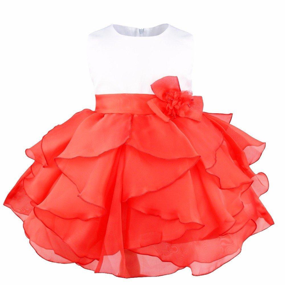 FEESHOW Baby Girls Ruffle Flower Baptism Dress Christening Gown Wedding Party Birthday Tutu Dress