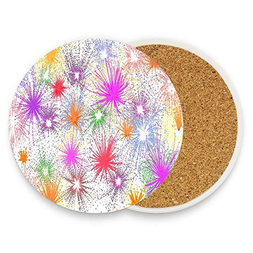 Absorbent Stone Coasters for Drinks with Modern Design - Star Dab Farbkleckse Leaf Flower Coaster Pack of 1 for Home Decor and Housewarming Gift