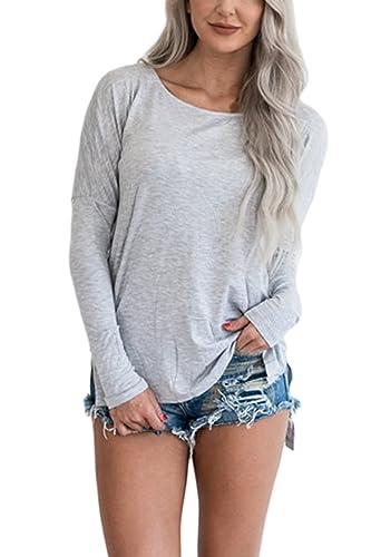 La Mujer Alta Baja Slit Irregular Scoop Cuello Blusa Camiseta Manga Larga