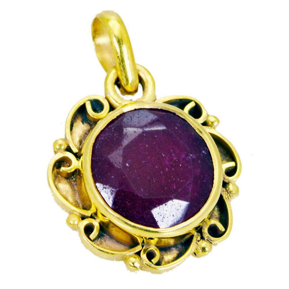 Jewelryonclick Real Round Indian Ruby Jewelry Gold Plated Pendant Necklace Charms Handmade Gifts for Her