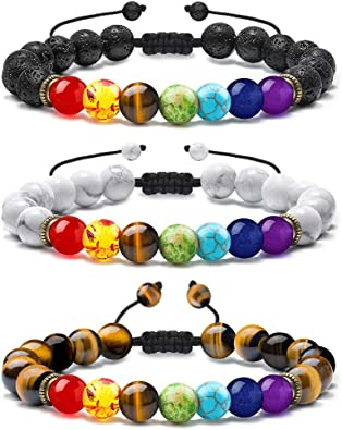 7 Chakra colours /& lava stone bracelet Meditation//Anxiety//Healing//Aromatherapy