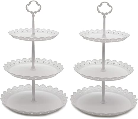 2 Set of 3-Tier Cupcake Stand Fruit Plate Cakes Desserts Fruits Snack Candy Buffet Display Tower Plastic White for Wedding Home Birthday Tea Party Serving Platter