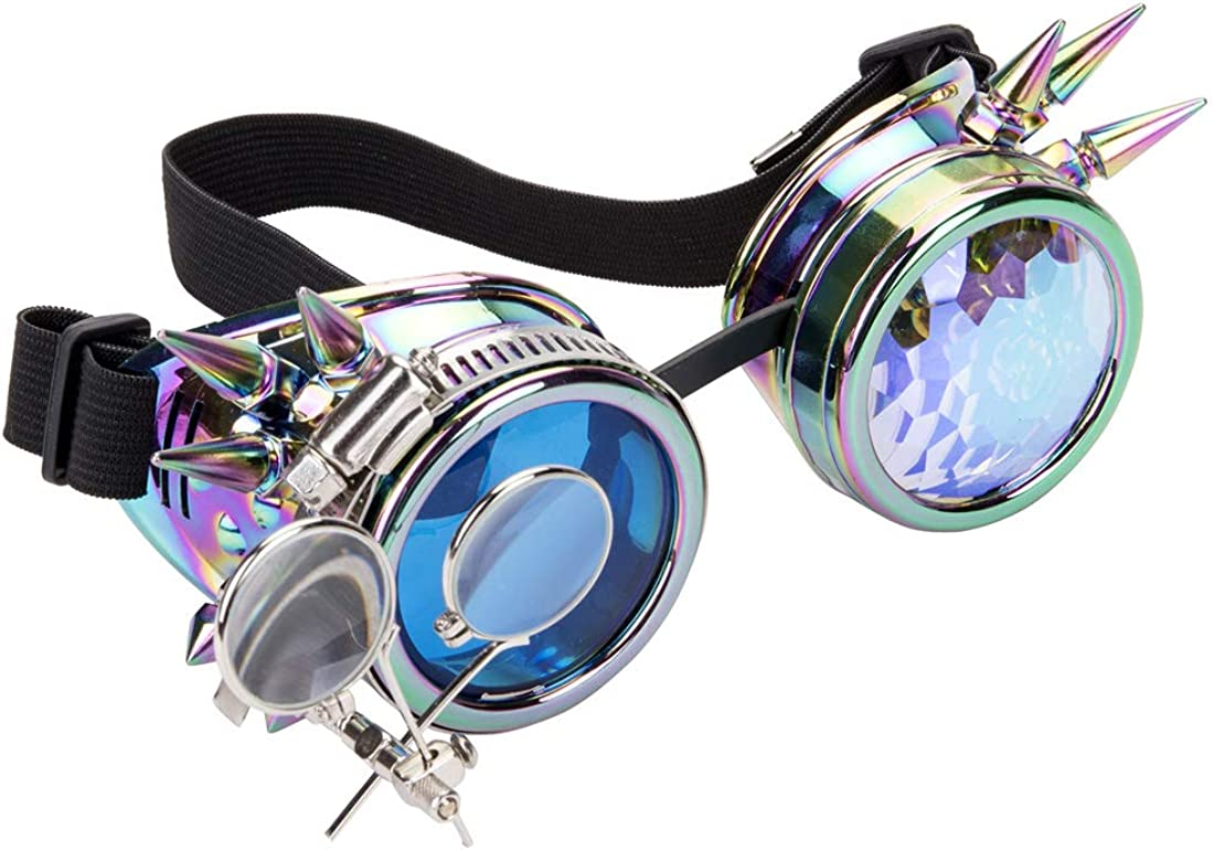 OMG/_Shop Kaleidoscope Steampunk Goggles Double Ocular Loupe Barbed Wire