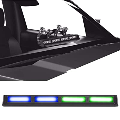 SpeedTech Lights Striker TIR 4 Head High Intensity LED Strobe Deck/Dash Windshield Mount Light Bar for Emergency Vehicles/Hazard Flashing Warning Lights with Cigarette Lighter Plug - Blue/Green: Automotive