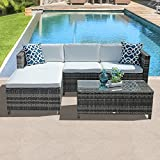 PATIOROMA 5pc Outdoor PE Wicker Rattan Sectional Furniture Set with Cream White Seat and Back Cushions, Blue Throw Pillows, Steel Frame, Gray For Sale