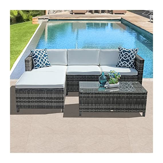 Patiorama 5pc Outdoor Furniture - 【Sturdy & Attractive】Constructed from strong powder coated steel frame and commercial grade hand woven weather-resistant PE rattan wicker in a gradient shades of gray creating a whole new look and feel for your patio (PLEASENOTETHEDIMENSIONSHOWEDINTHESECONDPICTURE) 【Upgraded Comfort】Comes with 3-inch thick lofty sponge padded seat cushions and back cushions for more comfort and relaxation, 2 blue square throw pillows are also included (Cushions and pillows are NON WATER-RESISTANT) 【Easy to Clean】All cushions and pillows come with zippered 200g polyester covers which are removable for easy cleaning; Removable tempered glass on the table adds more convenience to clean after use and a sophisticated touch as well - patio-furniture, patio, conversation-sets - 615JTqMiPxL. SS570  -
