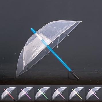 Sable láser transparente paraguas linterna en el asa de fácil agarre Golf paraguas espada LIGHT UP