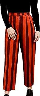 product image for Heidi Merrick Womens Striped Cotton Straight Leg Trouser Fire Stripe