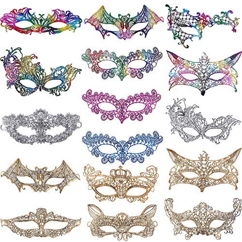 Jovitec 16 Pieces Lace Masquerade Mask Women Venetian Style Eyemask for Halloween Carnival Party Prom Ball Fancy Dress Multicolor -