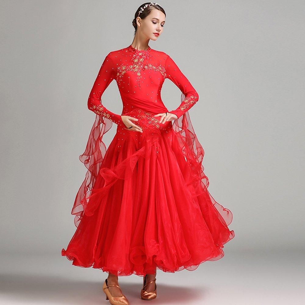 現代の女性の大きな振り子の手刺繍タンゴとワルツダンスドレスダンスコンペティションスカート長袖ラインストーンダンスコスチューム B07HHWY2R1 XXL|Red Red XXL