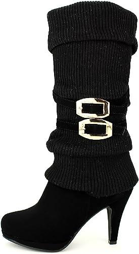 Cendriyon, Botte guêtre Noire Coline Chaussures Femme Taille