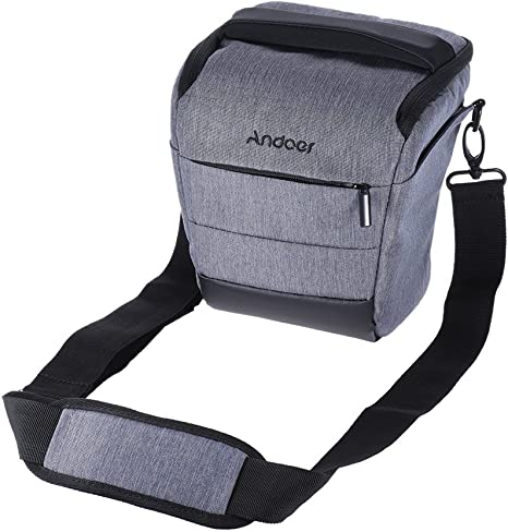 Andoer Portable DSLR Camera Shoulder Bag Sleek Polyester Camera Case for 1 Camera 1 Lens and Small Accessories for Canon Nikon Sony Fujifilm Olympus