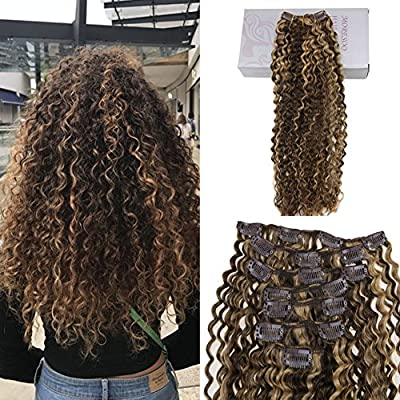 Moresoo 24 Inch Curly Hair Extensions Human Hair Brown And Blonde Highlights Clip In Afro Kinkys Curly Natural Color For Women Full Head Set 7pcs 120g