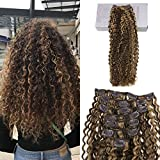 Bleaching Hair Brown To Blonde - Moresoo 24 Inch Curly Hair Extensions Human Hair Brown and Blonde Highlights Clip in Afro Kinkys Curly for Black Women Full Head Set 7pcs/120g