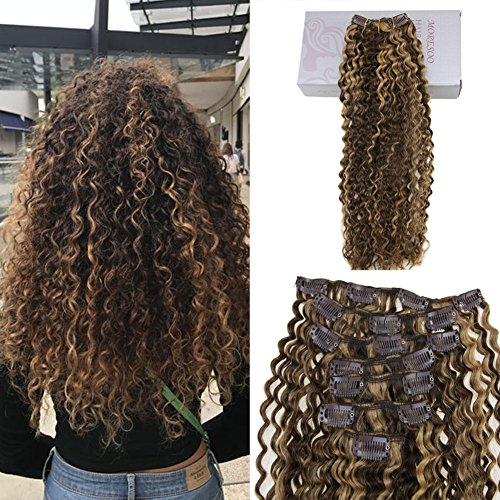 Moresoo 12 Inch Afro Kinky Curly Clip in Human Hair Extensions Dark Brown and Caramel Brown Highlights Yaki Clip ins Human Hair Brazilian Hair Clip in Extension