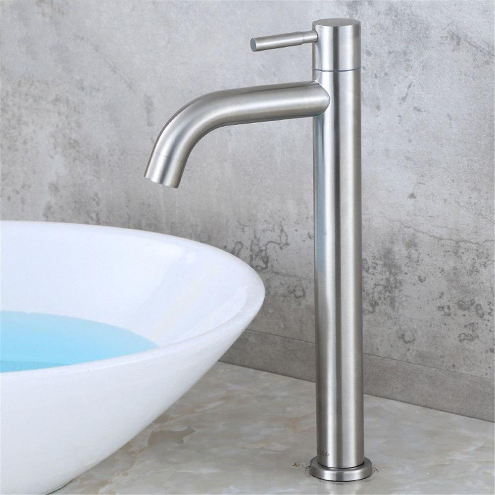JingJingnet タップキッチンタップ洗面台の蛇口冷たいとお湯のミキサーバスルームのミキサー洗面器のミキサータップステンレス鋼シングルコールドキッチンまたはバスルームのタップ (Color : A) B07SWTCXCL A