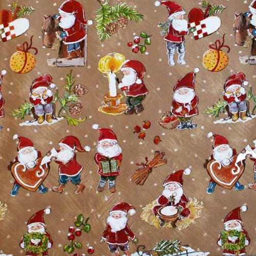 Christmas Wrapping Paper - Heart Baskets and Santa Tomte