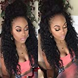 Yazi Hair Outre Half Wig Afro Kinky Curly Outre Lace Front Wigs (20inch with 180% density natural color)