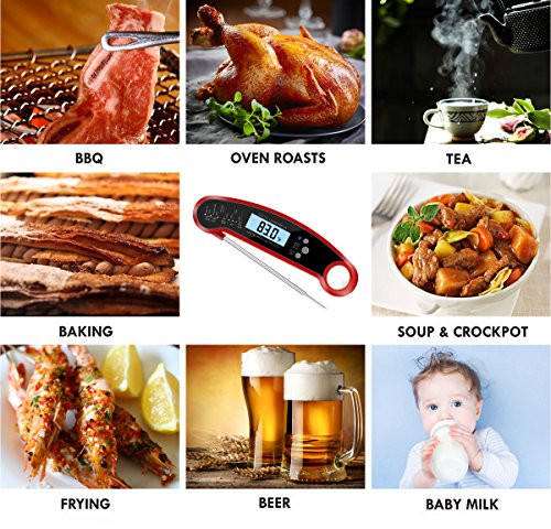 Smileto Instant Read Waterproof Digital Thermometer With LCD Calibration & Backlight Function For Kitchen Use, BBQ, Baby Food by Smileto (Image #7)