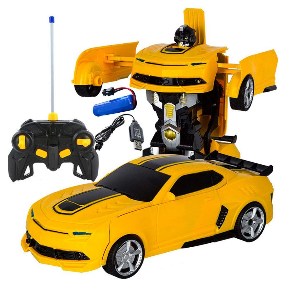 KOBWA Remote Control Car, Gesture Sensing Car Toy with One-Button  Deformation and Music Sound for Kids, Bumblebee