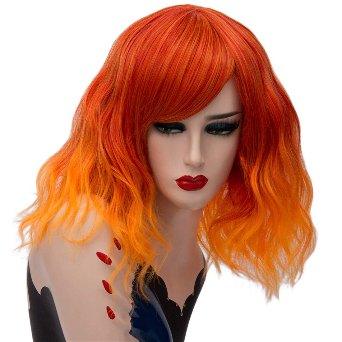 OYIXU Cool 40cm 15.7'' Orange Ombre Highlights Synthetic Women Party Cosplay Fluffy Curly Halloween Short Hair Wig