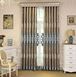 AiFish Room Darkening Semi-Blackout Curtains for Living Room 84 inch Long Grey Chenille Grommet Thermal Insulated Delicate Embroidered Window Curtain Panels Draperies for Bedroom 1 Panel 100×84 inch