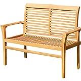 ASS Teak Design Gartenbank Parkbank Sitzbank 2-Sitzer Bank Gartenmöbel Holz Sehr Robust Modell: JAV-ALPEN120 von