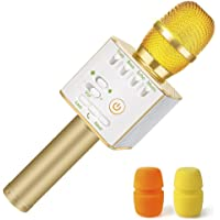 Nequare 3-in-1 Wireless Bluetooth Karaoke Microphone for Smartphones (Gold)