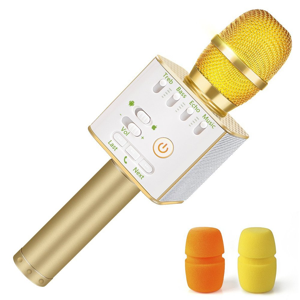 Nequare Wireless Bluetooth Karaoke Microphone 3-in-1 Portable Handheld Karaoke Mic Speaker Machine for iPhone/Android/iPad/Sony,PC and All Smartphone (Gold)