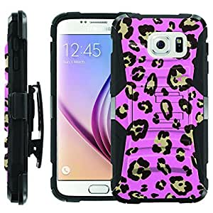 [ManiaGear] Heavy Duty Combat Armor Dual Layer Design Image Case With Kickstand Belt Holster Case (Pink Lepard) for [Samsung Galaxy S6]