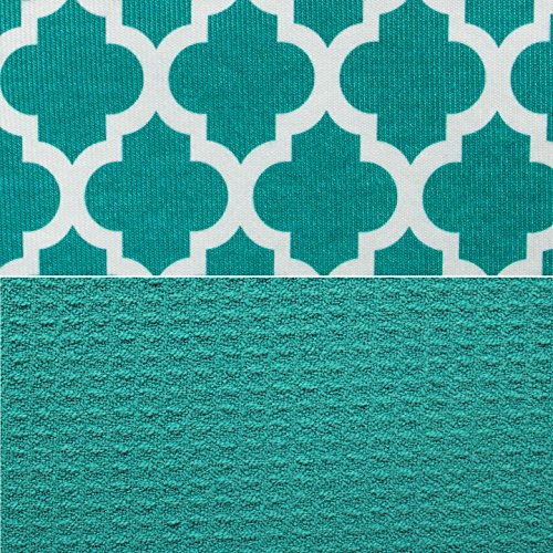 S&T INC. Absorbent, Reversible XL Microfiber Dish Drying Mat for Kitchen, 18 Inch x 24 Inch, Teal Trellis