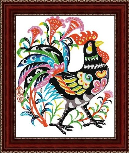 DMC糸 クロスステッチ刺繍キット 花公鶏 図柄印刷 B00EC3ZLSW