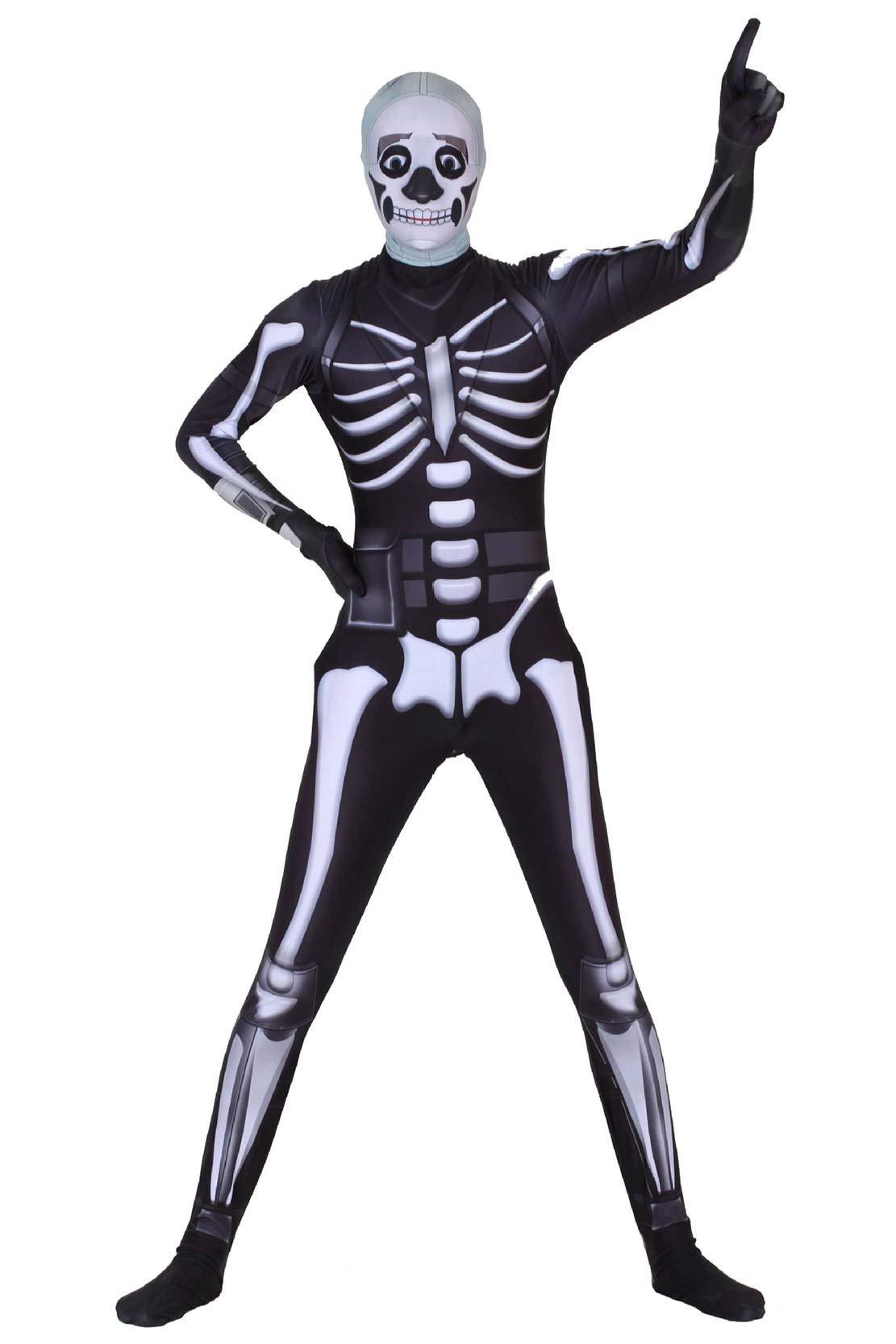 - 615JWd tL3L - Ditard Adult Kids Halloween 3D Zentai Spandex Bodysuit Cosplay Skull Costume
