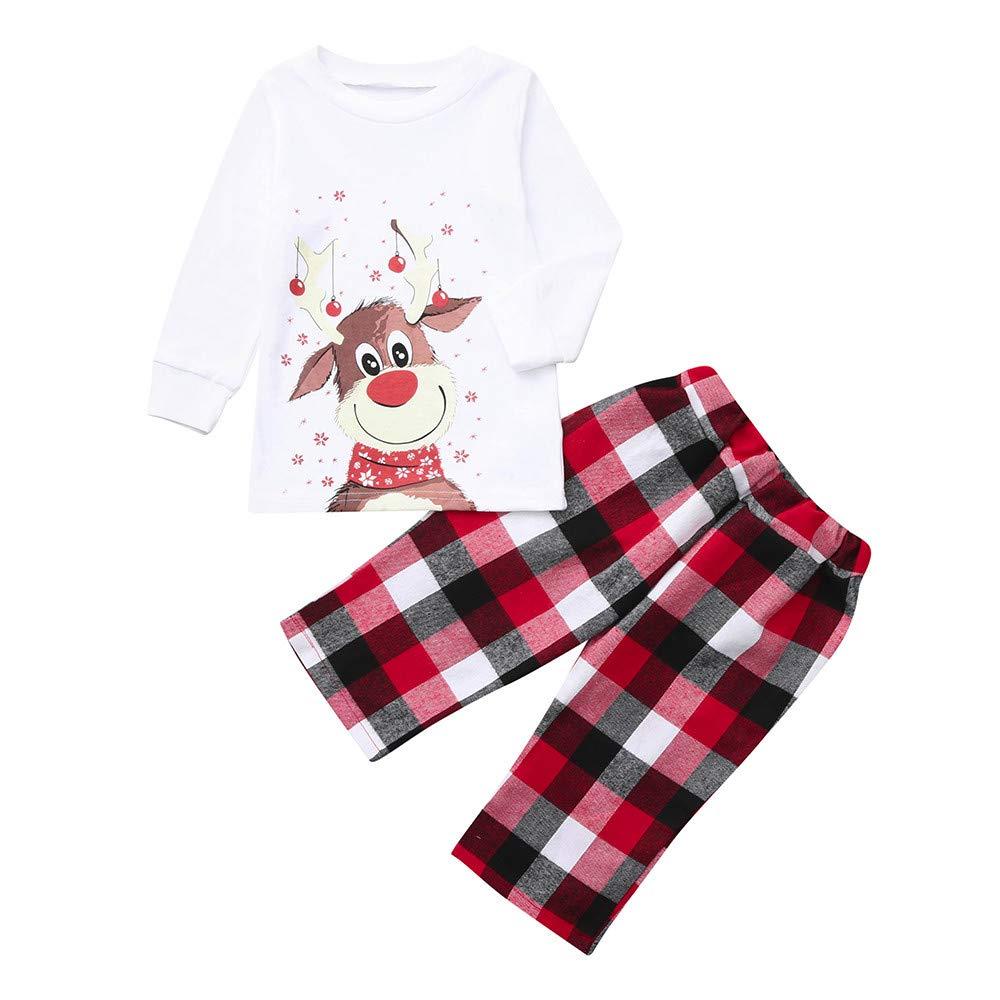 Kingspinner Family Pajamas Sleepwear Matching Cute Reindeer Print Tops Blouse + Plaid Pants Christmas Sets (White, Kid Size:6-12 Months)