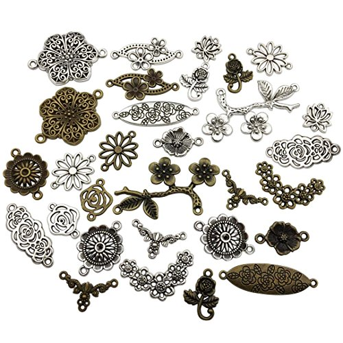 Youdiyla 100g Flower Connecor Charms Collection - Mixed Antique Silver Bronze Peach Blossom Cherry Flower Plum Rose Hollow Metal Alloy Pendants (HM88)