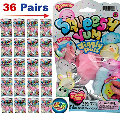 JA-RU Squish Yum Pals Gummy Feel (Pack of 36) with a Bouncy Ball Soft Delicious Gum Squishy! 3343-36p